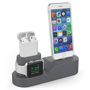 $14.36AhaStyle 3 in 1 Premium Silicone Stand Charging Dock for AirPods & Apple Watch & iPhone