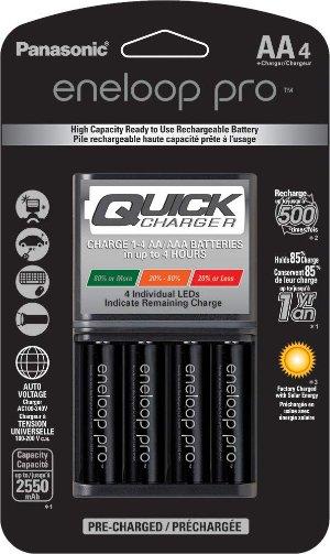 $32.89闪购:eneloop 松下4小时快充充电器 + 4节 AA Pro 电池