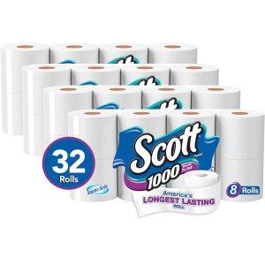 Scott 1000 Sheets per Roll, 4 Packs of 8 Rolls, 32 Rolls