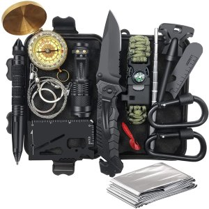 Gifts for Men Dad Husband Fathers Day from Daughter Wife Son, Survival Gear and Equipment 14 in 1, Fishing Hunting Birthday Gifts Ideas for Him Boyfriend, Cool Gadget, Survival Kit Emergency Camping