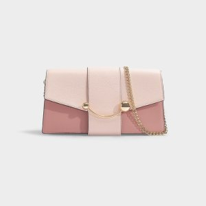 StrathberryMini Crescent Tri Colour Clutch in Baby Pink and Burgundy Leather