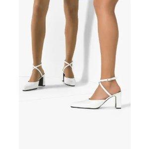 Balenciaga白色交叉带高跟鞋