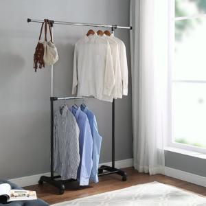 Walmart Mainstay Adjustable 2-Tier Rolling Garment Rack, Adjustable Design