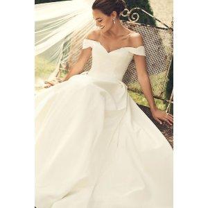 Davids BridalOff the Shoulder Satin Ball Gown Wedding Dress