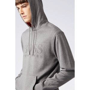 BOSS- Double-faced hooded sweatshirt with emed logo