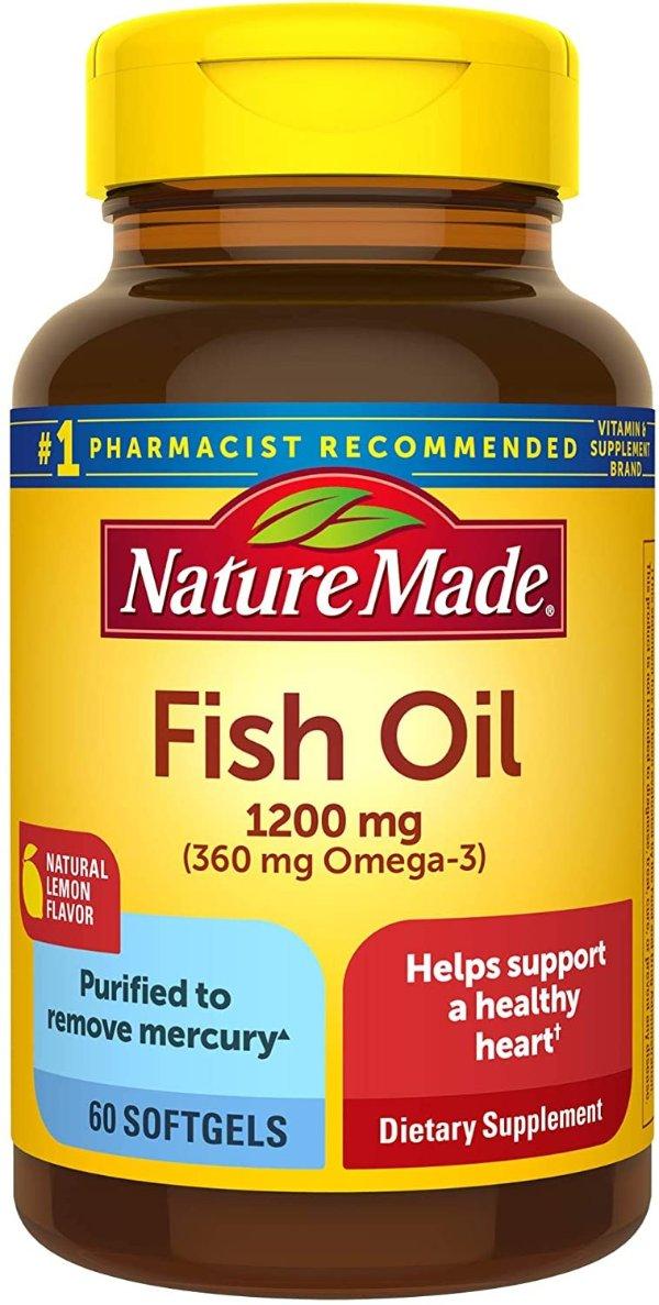 柠檬味 鱼油 1200 mg. 360mg Omega-3 60粒