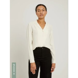 Frank And OakLong-Sleeved Camp Collar Blouse in Beige