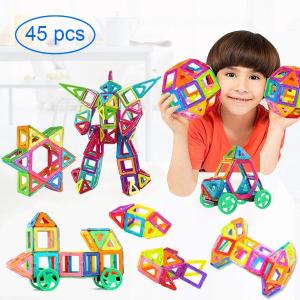 $26.39 (原价$32.99)闪购:MIBOTE 儿童益智3D磁力彩色积木 45片 开发智力