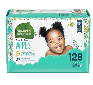 天然有机绿色$7.19(原价$12.46)Seventh generation 宝宝湿纸巾补充装(128片)