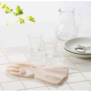 凑单推荐 $2.2/双30cm长家用橡胶手套 干爽绒毛衬里 舒适防滑抑制细菌生长