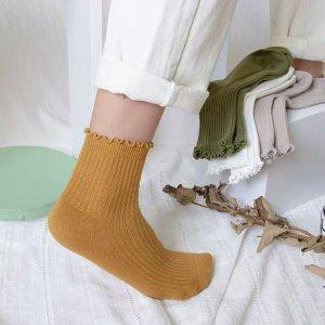 REME坊彩色秋款木耳边堆堆袜