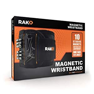 RAK Magnetic Wristband with Strong Magnets for Holding Screws, Nails, Drill Bits - Best Unique Tool Gift for Men, DIY Handyman, Father/Dad, Husband, Boyfriend, Him, Women (Black) - - Amazon.com