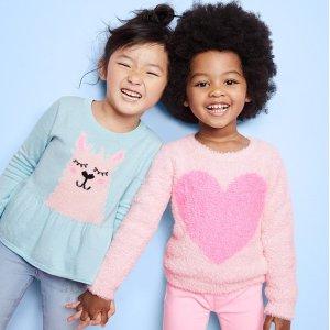 5折+额外8折 最低$8.32OshKosh BGosh 儿童毛衣、卫衣等保暖服饰温暖一整个冬天