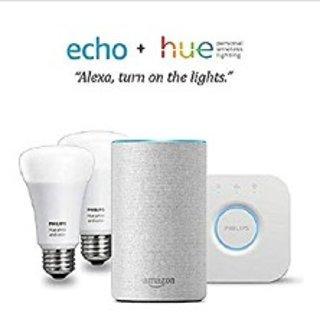 低至4折 多套装可选Echo Dot 智能语音助手 + Hue 智能灯泡套装