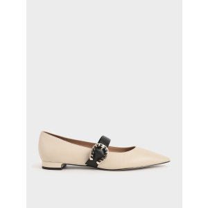 Charles & KeithChalk Leather Mary Jane Flats | CHARLES & KEITH