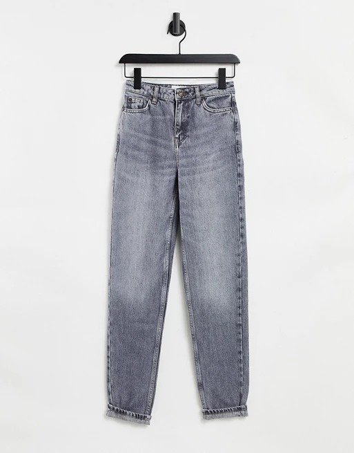 mom jeans灰色牛仔裤