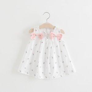 patpatBaby Bowknot Decor Strappy Dresses