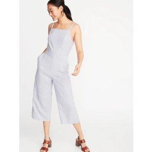 GapStriped Linen-Blend Cami Jumpsuit for Women