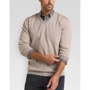 Joseph Abboud2 For $75Oatmeal V-Neck Merino Wool Sweater
