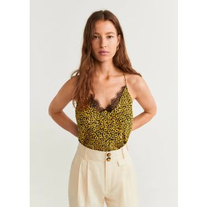 MangoFlowered lace top - Women | OUTLET USA