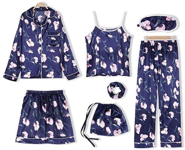 蓝色小花 睡衣7件套