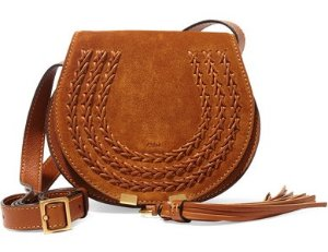 Chloe Marcie Camel Small Suede Crossbody Bag