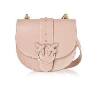 Pinko樱花粉铆钉马鞍燕子包