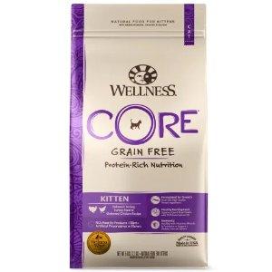 Wellness Core纯天然无谷火鸡白鲑鸡肉味幼猫猫粮 5磅