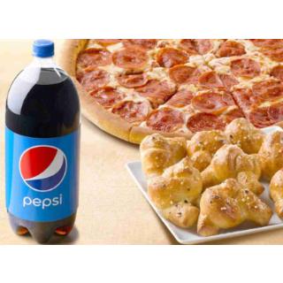 只需$10Papa John's Pizza 1个中号pizza, 2升饮料和garlic knots