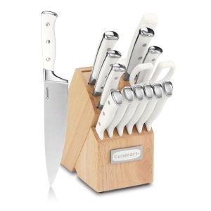 $44.99史低价:Cuisinart 白色高颜值刀具15件套