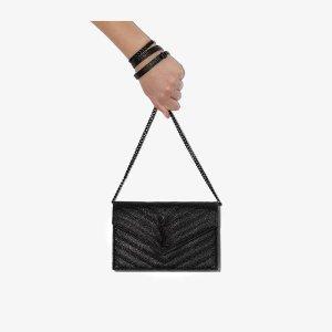 Saint LaurentBlack monogram leather envelope clutch bag