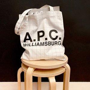 低至4折 €50收logo帆布包A.P.C. 法国极简风小众品牌闪促 收Logo半月包、卫衣