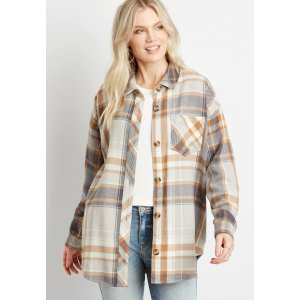 mauricesNeutral Plaid Oversized Flannel Shacket