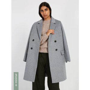 Double-Breasted Cocoon Coat with Recycled Wool - Grey Mix