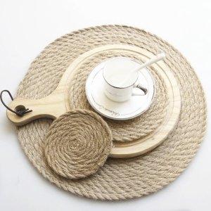 天然亚麻编制餐垫&隔热垫