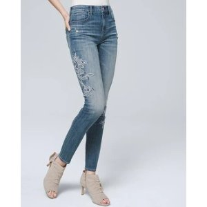 White House Black Market Everyday Soft Denim Embroidered High-Rise Skinny Ankle Jeans