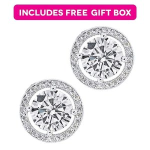 0424ff855 Jade MarieJade Marie EMPOWERING Silver Halo Stud Earrings, 18k White Gold  Plated Earrings with Large
