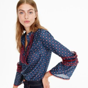 Embroidered bell-sleeve top in foulard