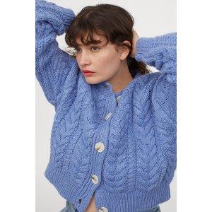 H&M蓝色针织毛衣外套