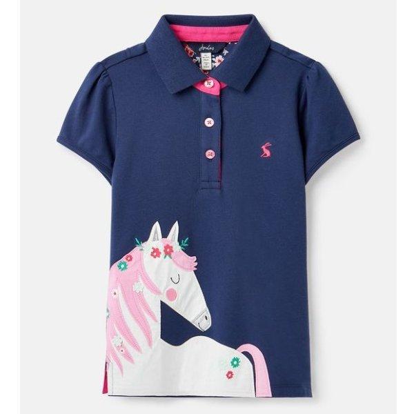 女孩小马贴布绣polo衫