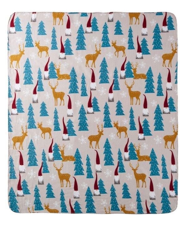 树林小鹿图案盖毯