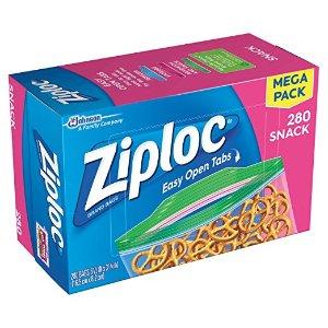 史低价:Ziploc 小号零食保鲜袋 280个