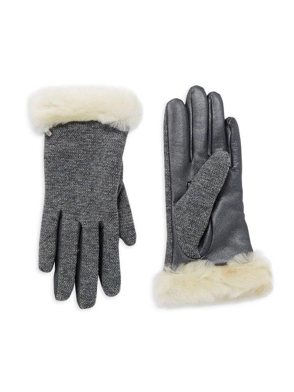羊皮拼接手套