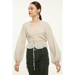 The East Order Check Blouse With Tie Waist 衬衫
