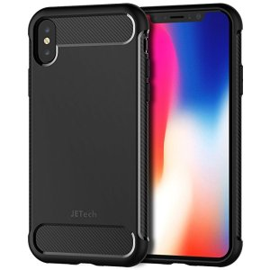 d7ecc779218a JETechCase for iPhone X Protective Cover with Shock-Absorption and Carbon  Fiber Design (Black.  7.99. JETech Case ...