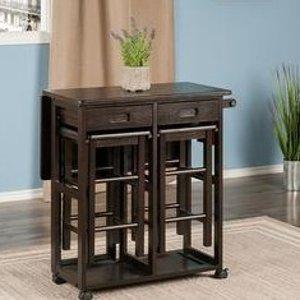 $199.97(Lowe's $253)Winsome Wood Space Saver 实木餐桌椅 柚木色 节省空间好物