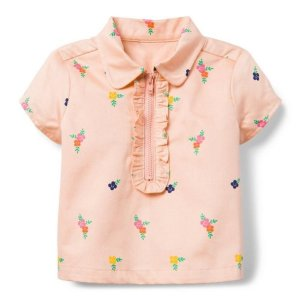 Janie and JackHalf-Zip Floral Ruffle Top