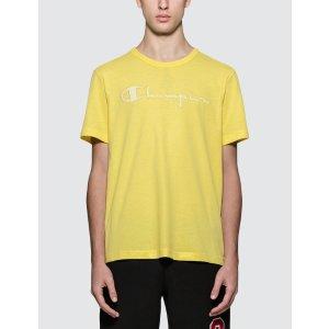 Champion Reverse Weave柠檬黄logoT恤
