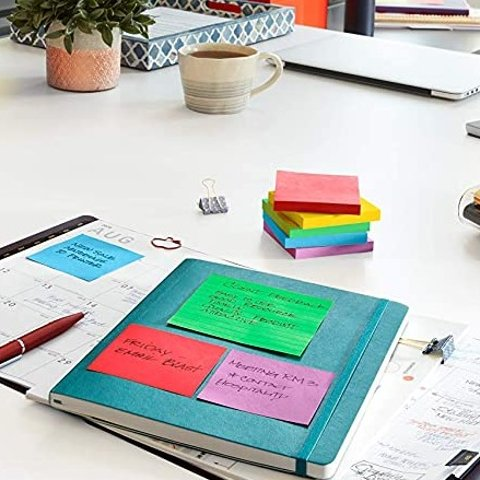 Post-it Super Sticky Notes, 5 Pads, 90 Sheets/Pad