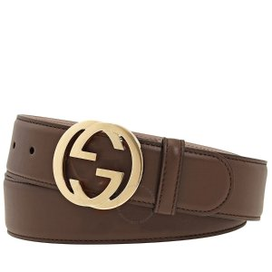 GucciLadies Leather Belt with Interlocking G 3.7 cm Gusima Moo